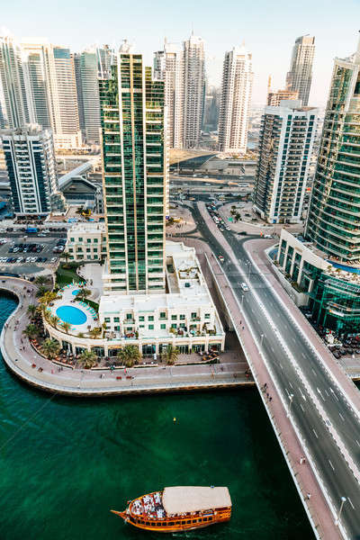 Dubai marina panorâmico ver céu água Foto stock © alexeys