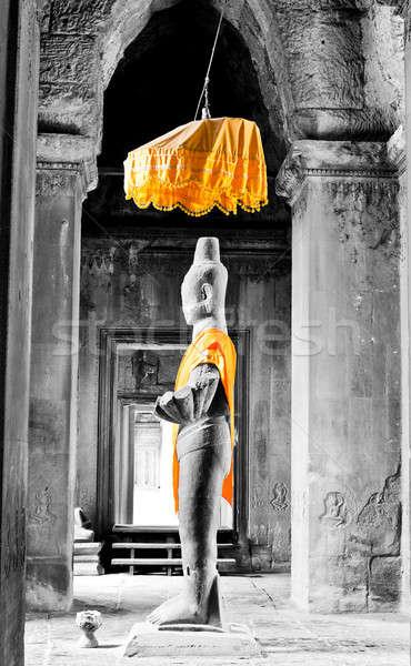 Estátua um Angkor Wat Camboja arte rocha Foto stock © alexeys