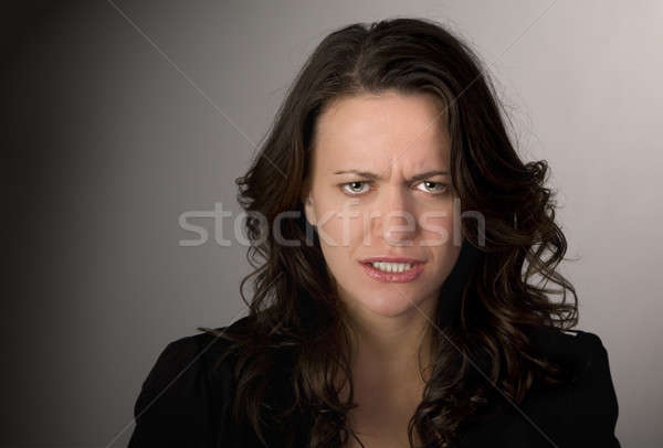 Zangado retrato frustrado mulher escuro Foto stock © alexeys