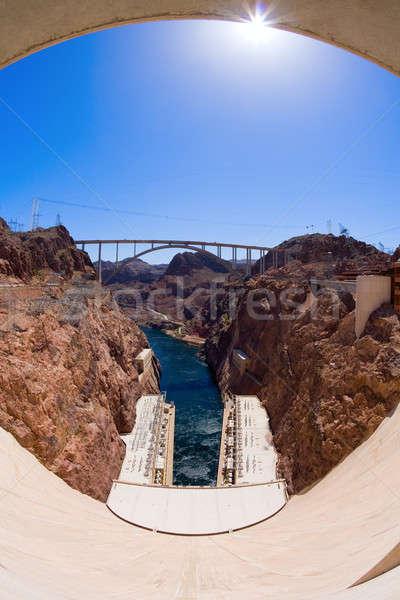 Hoover Dam fisheye brug bouw woestijn Stockfoto © alexeys