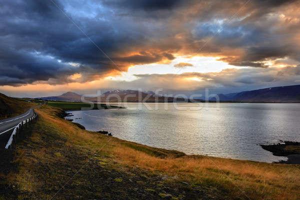 Cênico ver norte Islândia pôr do sol céu Foto stock © alexeys
