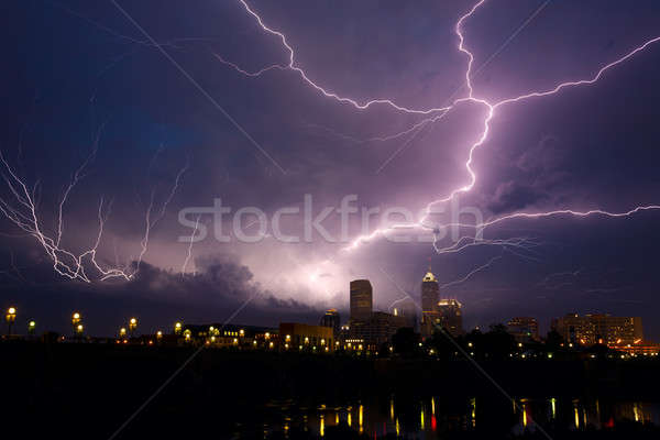 Storm over city Stock photo © alexeys