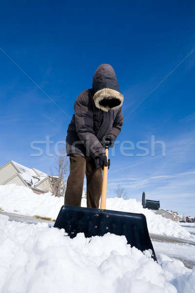 Neve dia homem trabalhar natureza inverno Foto stock © alexeys