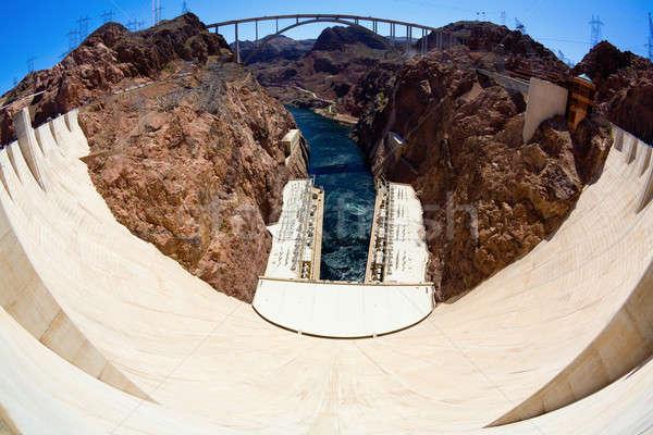 Hoover Dam fisheye brug bouw water Stockfoto © alexeys