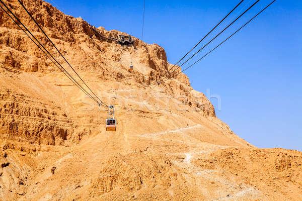 Kábel autó erőd sivatag Izrael égbolt Stock fotó © alexeys