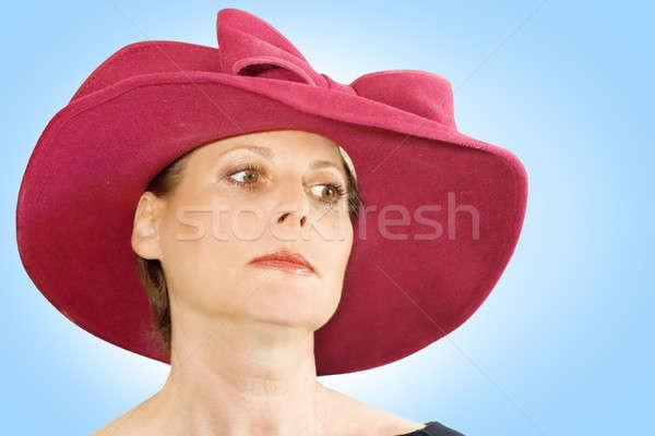 Nő kalap portré visel gesztenyebarna fehér Stock fotó © alexeys
