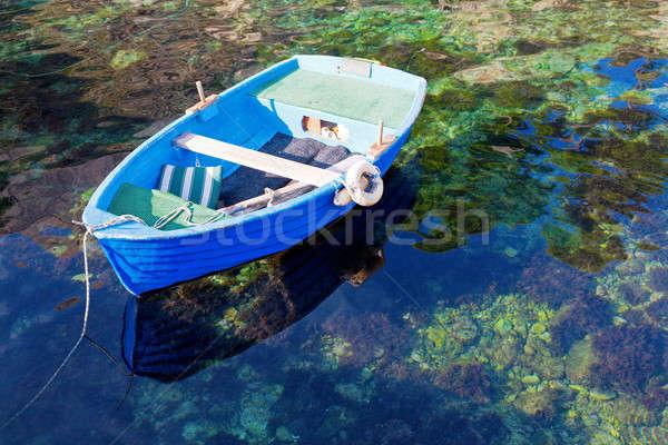 Roeiboot water groene boot meer touw Stockfoto © alexeys