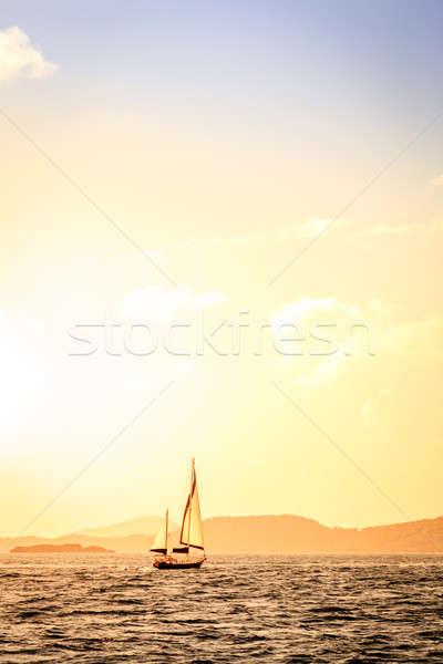 парусного Карибы парусника закат британский Виргинские о-ва Сток-фото © alexeys