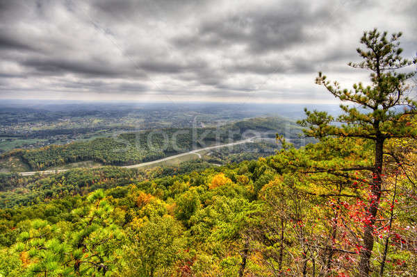 Kloof grens hdr afbeelding wolken weg Stockfoto © alexeys