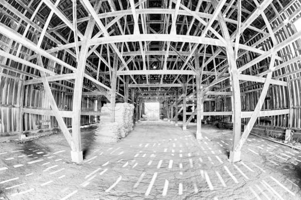 Schuur interieur fisheye houten ruimte Stockfoto © alexeys