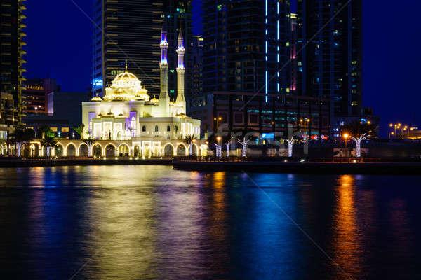 Cami Dubai marina gece su Stok fotoğraf © alexeys