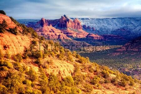 Snow on Red Rocks Stock photo © alexeys