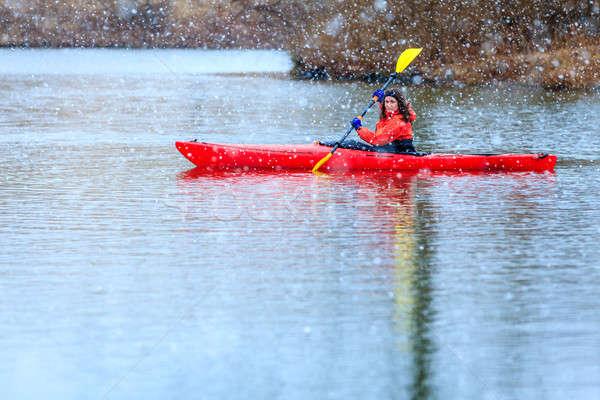Winter kayaking Stock photo © alexeys