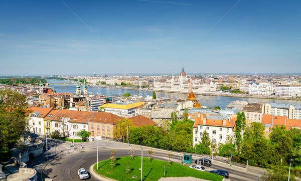 Budapest város központ Duna folyó gyönyörű Stock fotó © alexeys