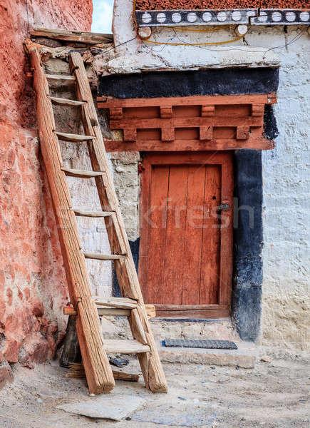 Kolostor kicsi buddhista épület ajtó piros Stock fotó © alexeys