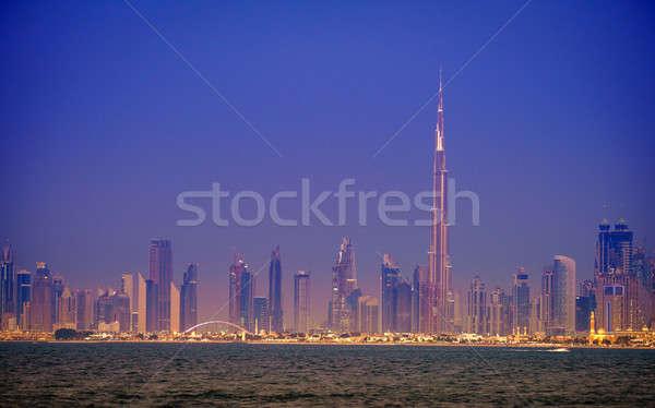 Dubai centro skyline view tramonto Foto d'archivio © alexeys