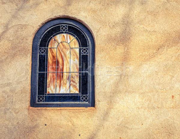 Díszes ablak templom művészetek iparművészet falu Stock fotó © alexeys