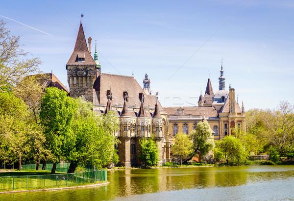 Kasteel Boedapest stad park hemel Stockfoto © alexeys