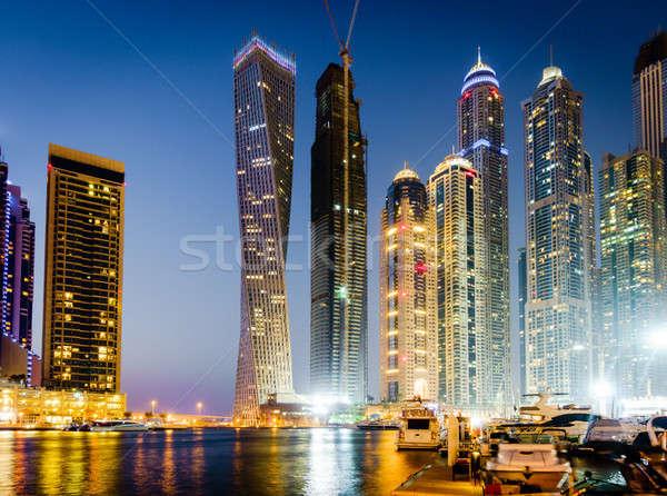Dubaï marina scénique vue eau bâtiments Photo stock © alexeys