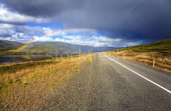 Szivárvány út festői Izland égbolt eső Stock fotó © alexeys