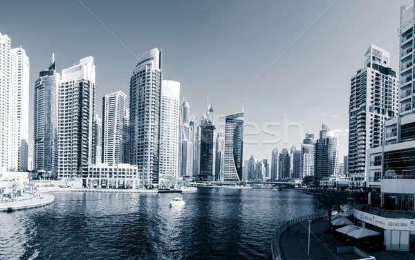 Dubaï marina scénique vue eau bleu Photo stock © alexeys