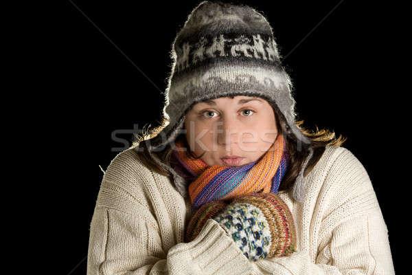 Tél lány portré fiatal nő visel gyapjú Stock fotó © alexeys