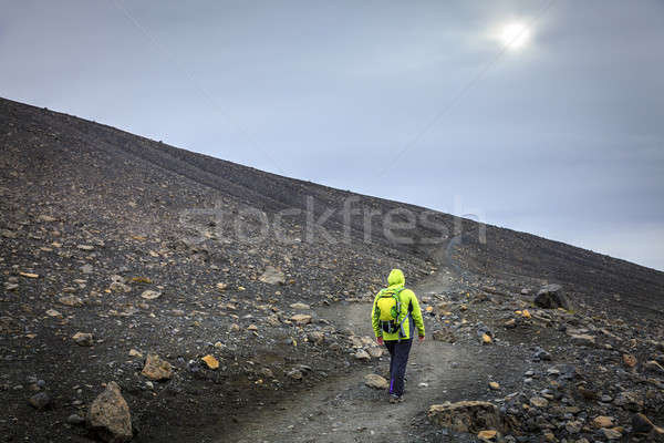 ハイキング クレーター 女性 歩道 先頭 ストックフォト © alexeys