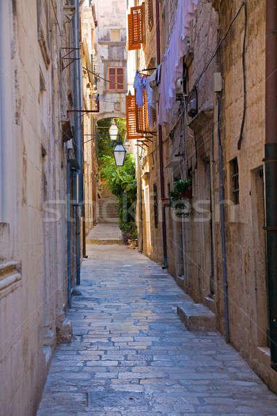 Keskeny utca történelmi központ Dubrovnik Horvátország Stock fotó © alexeys