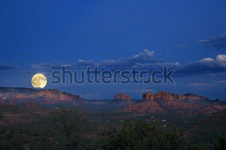 Moonrise over Red Rocks Stock photo © alexeys