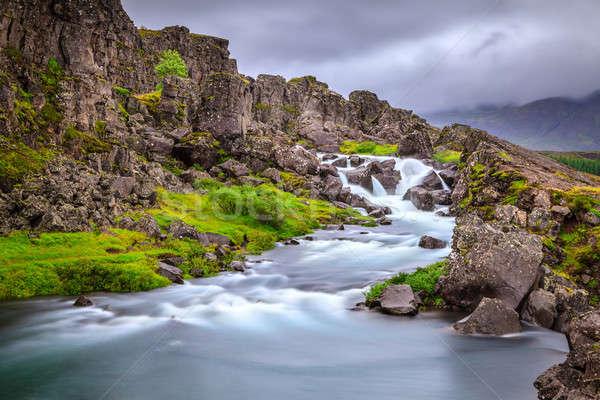 Waterfall in Thingvellir National Park, Iceland Stock photo © alexeys