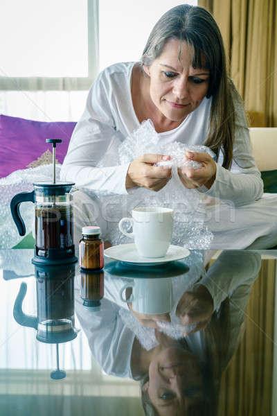 Bańka terapii na zewnątrz starsza kobieta Zdjęcia stock © alexeys