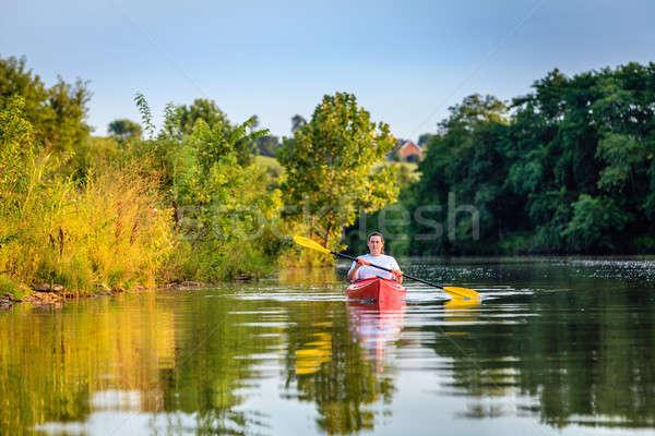 Kayaking on the lake Stock photo © alexeys