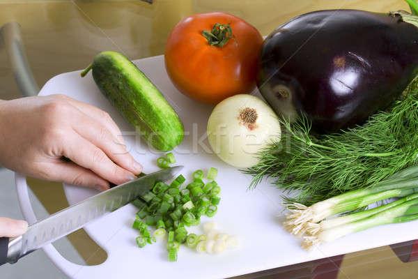 Salada verde faca tomates cozinhar Foto stock © alexeys