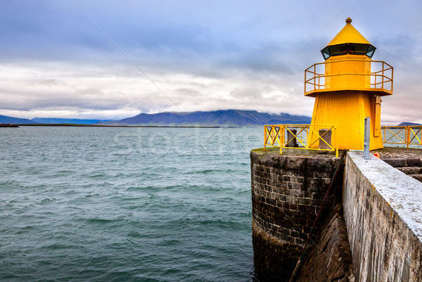 Reykjavik port phare entrée Islande eau Photo stock © alexeys