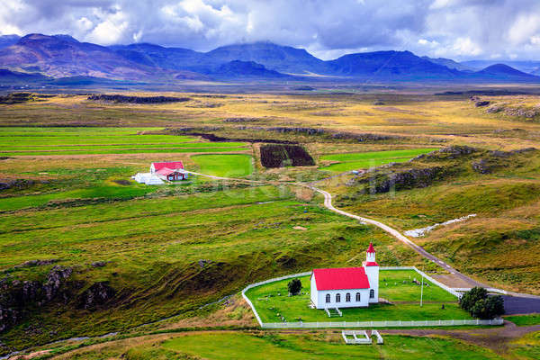 Icelandic church and farm Stock photo © alexeys