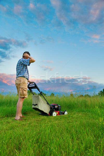 Trabalho homem campo alto grama céu Foto stock © alexeys