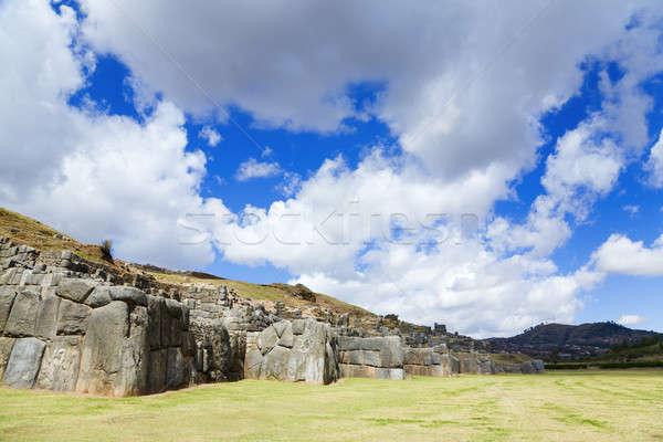 Ruines inca hemel landschap reizen Stockfoto © alexeys