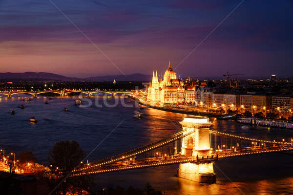 Budapest and the Danube River at night Stock photo © alexeys
