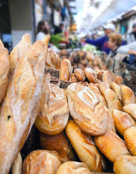 Friss kenyér vásár pult híres piac Stock fotó © alexeys