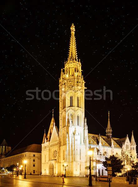 St. Matthias Church in Budapest at night Stock photo © alexeys