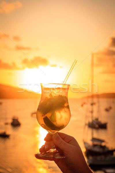 закат пить Мохито коктейль британский Сток-фото © alexeys