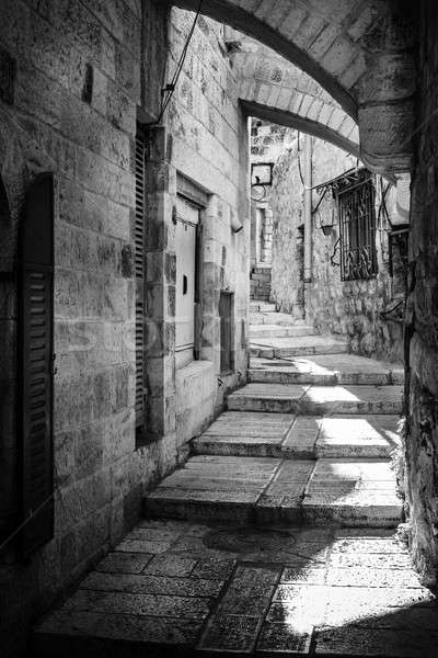 Kudüs sokak çeyrek binalar siyah ve beyaz geçit Stok fotoğraf © alexeys