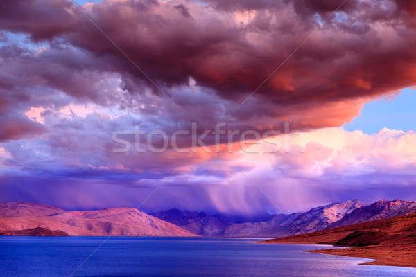 Stok fotoğraf: Göl · fırtına · gün · batımı · himalayalar · gökyüzü · yaz