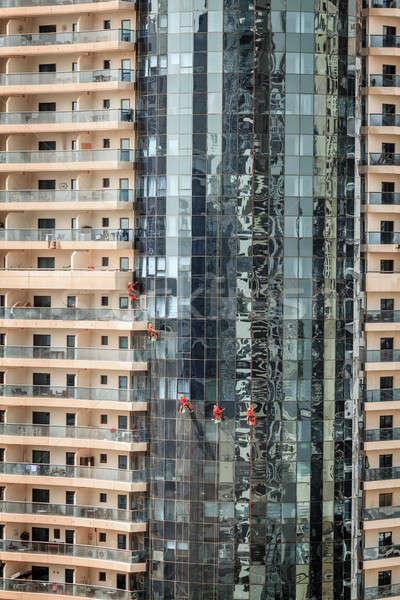 Dubai pencere bakım ekip temizlik pencereler Stok fotoğraf © alexeys