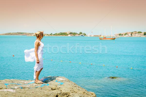 Foto stock: Negro · mar · costa · mujer · hermosa · mirando