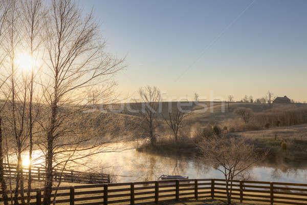 冷ややかな 日の出 午前 小 湖 セントラル ストックフォト © alexeys
