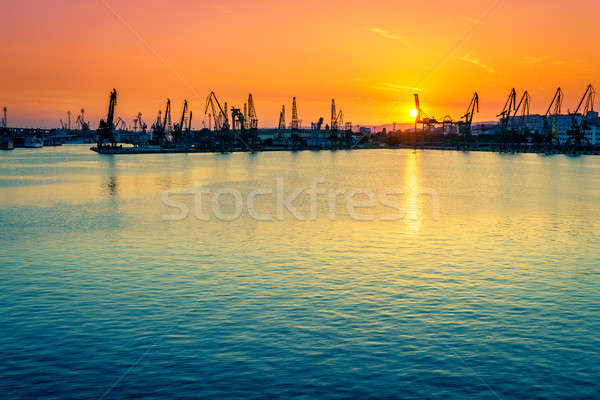 порта коммерческих город Болгария закат пейзаж Сток-фото © alexeys