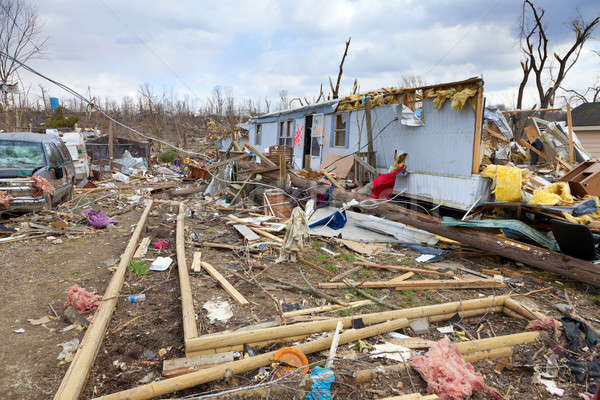 Tornado Indiana beneden kleine stad stad bomen Stockfoto © alexeys