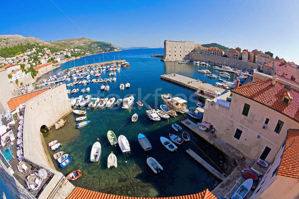 Dubrovnik kikötő halszem kilátás marina víz Stock fotó © alexeys