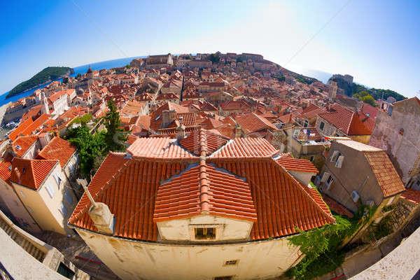 Tetők Dubrovnik halszem kilátás öreg történelmi Stock fotó © alexeys